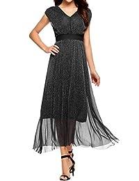 Meaneor Women's Metallic Shimmer Sequin V-Neck Sleeveless Mesh Chiffon Cocktail Party Dress