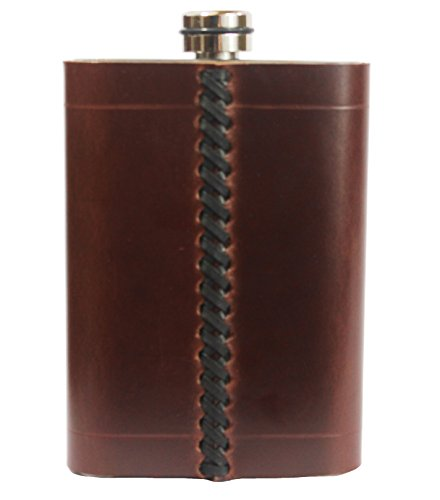 8oz Genuine Leather Wrapped Premium/Heavy Duty Hip Flask Gift Set - Includes Funnel and Gift Box