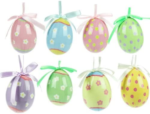 Easter Decorations Set Of Eight Easter Egg Decorations Amazon Co Uk Kitchen Home