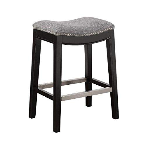ModHaus Living Mid Century Modern Upholstered Backless Saddle Counter Stool with Nailheads Accent and Solid Wood Legs – Includes Pen (Gray) Review