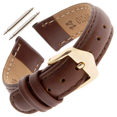 Gilden 10-14mm Water-Resistant Oilskin Leather Ladies Brown Watch Strap MSW63-0214 (14 Millimeter end Width, Brown, Gold-Tone Buckle)
