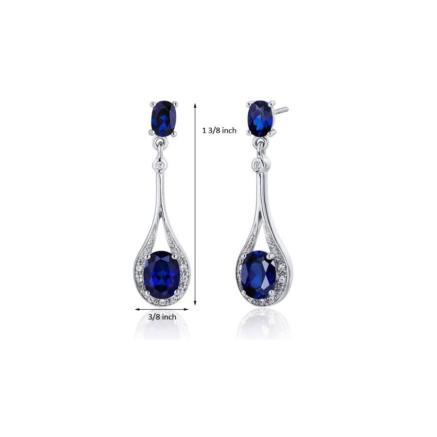 Created Blue Sapphire Dangle Earrings Sterling Silver 5.00 Carats