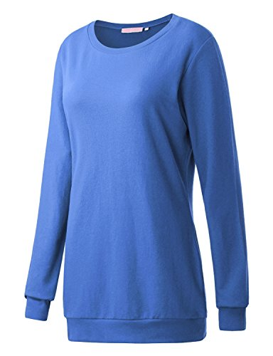 Blue Sweatshirt Top (Regna X Boho For Womans Warmer Comfy Round Neck Blue Extra Large Tunic Sweatshirts Pullover)