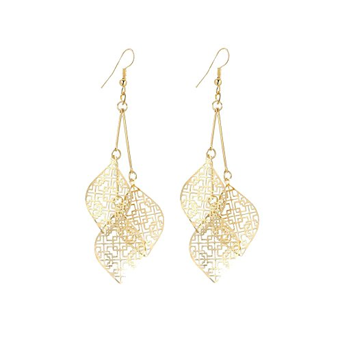 (IDB Delicate Filigree Dangle Triple Leaf Drop Hook Earrings - Available in Silver and Gold Tones (Gold Tone))