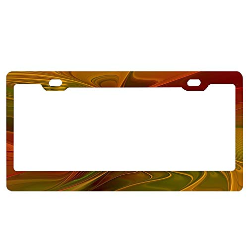 (ASLGlicenseplateframeFG Abstract Red Orange Brown Green Fractal Art Flower Personalized Aluminum Metal License Plate Tag for Auto Cars, Cover for Women/Men, 12 x 6 Inch)