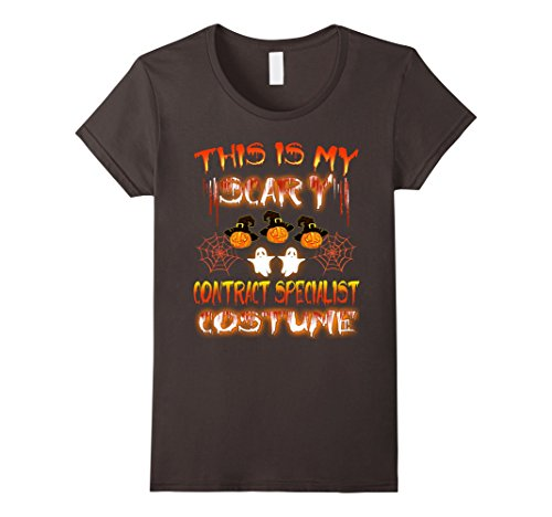 Womens This Is My Scary Contract Specialist Costume Halloween Shirt Large Asphalt