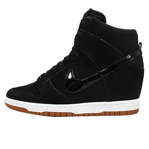 Nike Women's Wmns Dunk Sky Hi Essential, BLACK/BLACK-SAIL-GUM MED BROWN, 5 M US (Nike Dunk Sky High Black Wedge Sneakers)