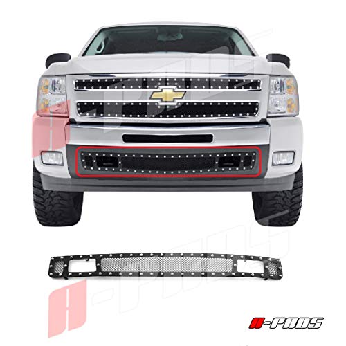 (A-PADS 1PC Bumper Black STEEL Mesh Grille, With Silver Rivets for Chevy SILVERADO 1500 2007-2013 & 2500 3500 07-2010 - OVERLAY)