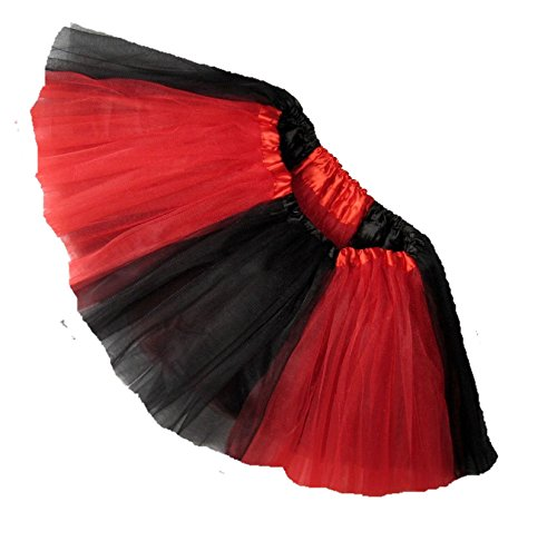 Raiders Cheerleaders Costumes (Southern Wrag Company ADULT TEAM SPIRIT Tutu BLACK RED Sizes S-XXL (XL: TUTU WAIST 34-60))