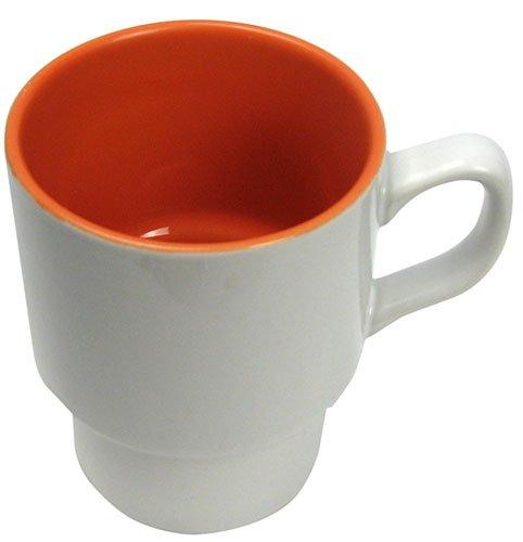 Orange & White Stackable Ceramic Coffee Mugs Pkg. (6)