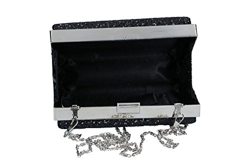 Bolsa mujer LUCA BORSE pochette negro de mano de ceremonia + strass