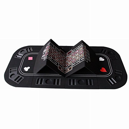 3 in 1 Folding Casino Texas Hold'em Table Top Black (Poker/Craps/Roulette) with Carrying Bag by IDS Home (Image #3)
