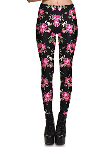 (Hoyou Funky Print Leggings For Women Galaxy Floral Tribal Sexy Smooth Crazy Patterned Pants Slimming Girls Floral L)