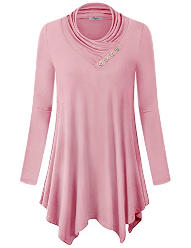 Long Tunic Tops to Wear With Leggings,Cestyle Tops Long Sleeve Cowl Neck Casual Juniors Sweatshirt Sweater Tunic Shirt Dress Pink X Large