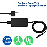 Surface Pro Surface Laptop Charger, 44W 15V 2.58A UL Listed Power SupplyCompatible Microsoft Surface Pro 6 Pro 5 Pro 4 Surface Laptop 2 & Surface Go with 5V 1A USB Charging Port