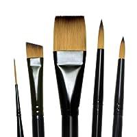Set de pinceles de pintura de manija corta Majestic Royal y Langnickel, Acuarela de lujo, 5 piezas