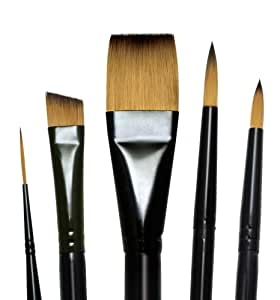 Majestic Royal and Langnickel Short Handle Paint Brush Set, Deluxe Watercolor, 5-Piece