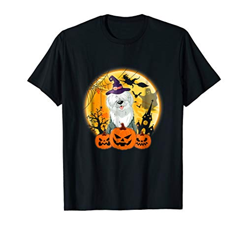 Old English Sheepdog With Pumpkin Costume Shirt