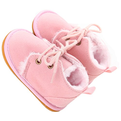 Baby Shoes Winter Plush Rubber Sole Laces Boots Pink 3-6 Months ()