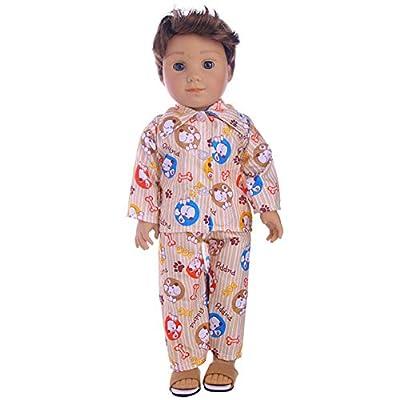 RONSHIN Nightwear Set 18 Inch Boy Dolls Cute Mini Clothes Accessories Dolls 18inch American Doll Clothes(N1157): Toys & Games