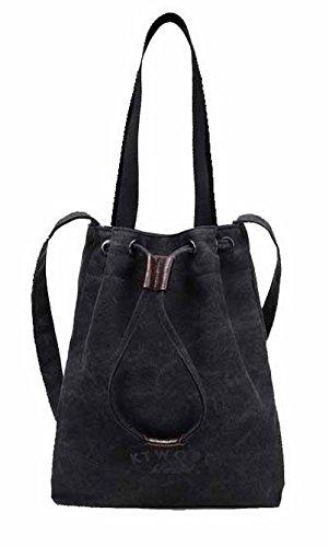 Odomolor Mujeres ToteStyle Bolsas de Mano Moda Casual Lona Bolsos Cruzados,ROPBL180676 Negro