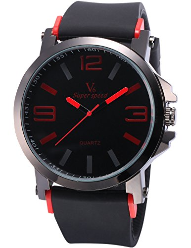 AMPM24 Men's WAA848 Analog Quartz Sport Black Rubber Band Wrist Watch Red