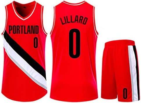 Jersey Set Portland Trail Blazers 0 Damian Lillard Basketball Jersey Sleeveless Vest Sports Shorts Sweatshirt Men S Fitness Competition Casual Set Red S Buy Online At Best Price In Uae Amazon Ae