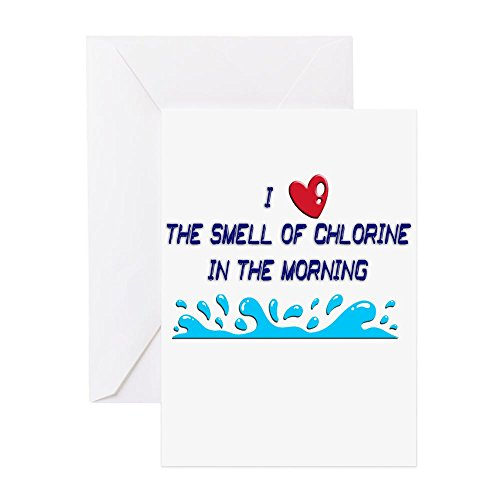(CafePress Chlorine In The Morning Greeting Card (10-pack), Note Card with Blank Inside, Birthday Card Matte)
