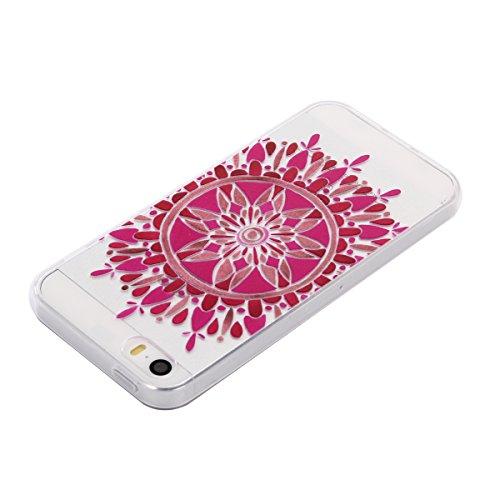 Voguecase® Pour Apple iPhone 5 5G 5S SE, TPU avec Absorption de Choc, Etui Silicone Souple Transparent, Légère / Ajustement Parfait Coque Shell Housse Cover pour iPhone 5 5G 5S SE (tournesol rouge 01)