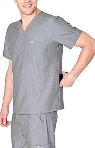 FIGS Medical Scrubs Mens Chisec Three Pocket Top (Graphite, M)