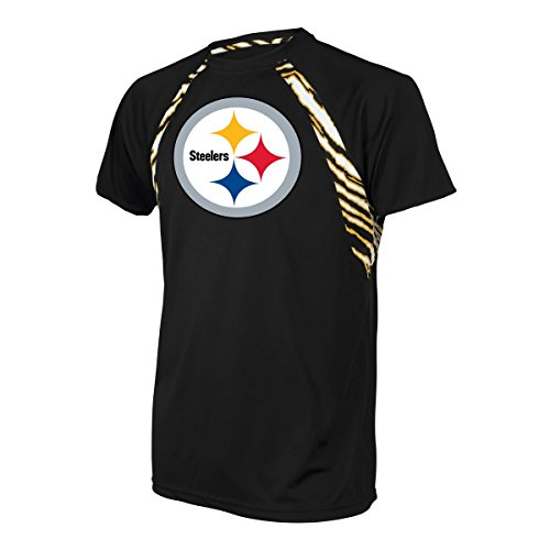 Accents Apparel (NFL Pittsburgh Steelers Men's Zubaz Zebra Accent Print Team Logo Short sleeve Raglan T-Shirt, X-Large, Black)