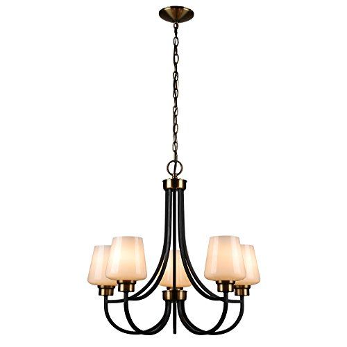 CO-Z Antique Brass 5 Light Chandelier, Black Finish 5-Light Ceiling Lighting Fixtures with Satin Etched Cased Opal Glass Shade for Dining Room/Kitchen/Living - Brass Five Light Antique Chandelier