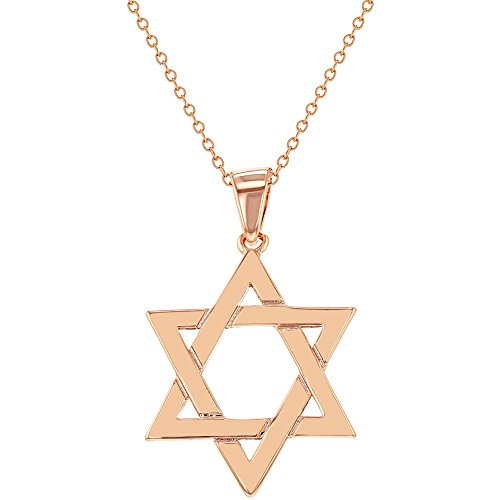 Rose Gold Plated Religious Jewish Star Of David Pendant Necklace 18