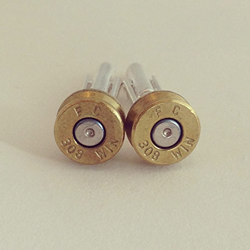 308 FC Winchester Bullet Shell Cufflinks -Federal WIN Brass Bullet Casing Cuff Links with Primer