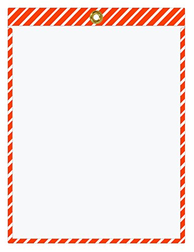 Striped Job Ticket Holders (Orange and White Stripes) -Pack of 30 - Top-Loading with Brass Eyelet. This Color Combination is commonly Used to Designate Traffic or Caution Warnings