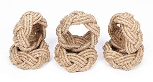 - Handmade, Set of 6 Classic Braided Jute Burlap Napkin Rings (Natural) - Hand Made by Skilled artisans - A Beautiful complement to Your Dining Table décor