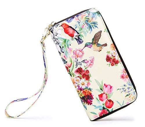 LOVESHE Women wallet Hummingbird Bohemian wristlet Clutch wallets(19Hummingbird)