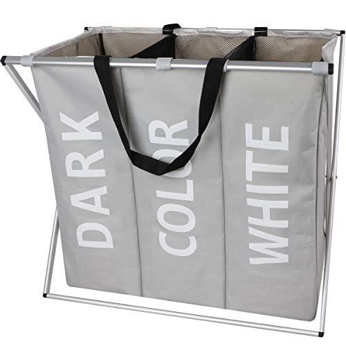 Olilio Large 3 Section Laundry Hamper Basket with Foldable Aluminium X-Frame 24.8