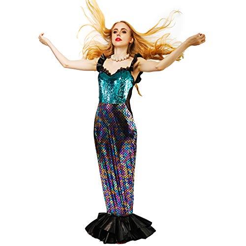 sapai Women's Long Mermaid Dress Adult Halloween Sequin