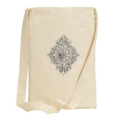 Rosette Scrolls Ornament Vintage Look Canvas Sling Tote Bag (Sling Rosette)