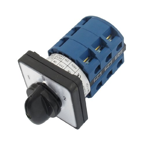 Uxcell s13052300am2192  660V 25A 12 Screw Terminals 3 Positions Rotary Cam Changeover Switch