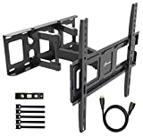 TV Wall Mount Bracket fits to Most 32-55 inch LED,LCD,OLED Flat Panel TVs, Tilt Full Motion Swivel Articulating Arms, Bring Perfect Viewing Angle, Max VESA 400X400, 99lbs Loading-by EVERVIEW