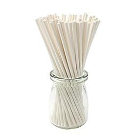 Zicome 6-Inch White Lollipop Sticks, 200 Count