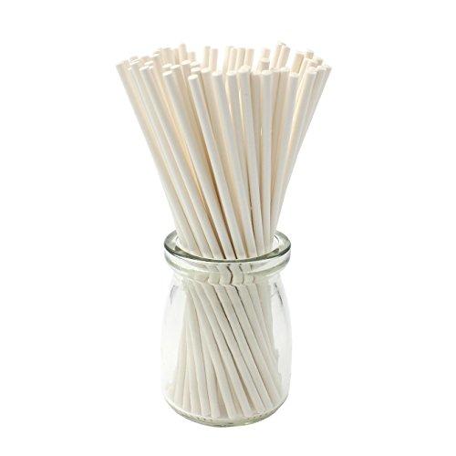Zicome 200 Count White Lollipop Sticks, 6-Inch (White Lollipop)