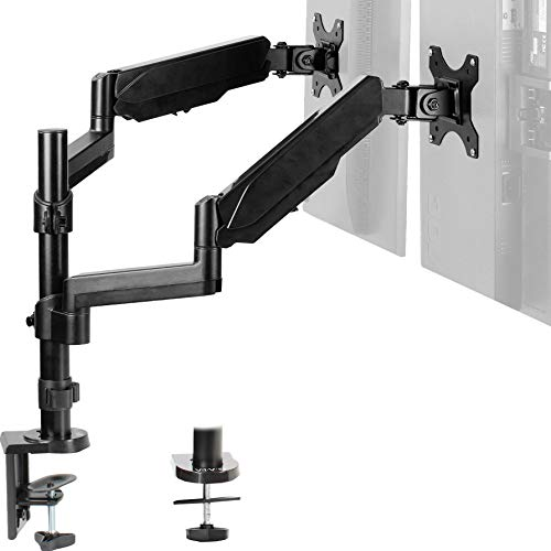 VIVO Dual Arm Computer Monitor Desk Mount Holds 17 to 32 inch Screens - Pneumatic Height Adjustment, Full Articulation   VESA Stand with C-clamp and Grommet (STAND-V002K)