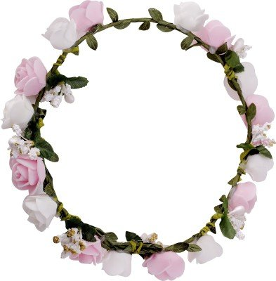 Buy Sanjog White Pink Flower Gracious Tiaracrown Head Wrap For