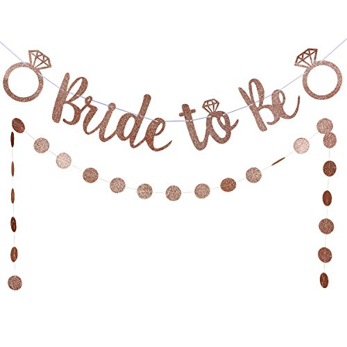 Rose Gold Glittery Bride to Be Banner and Rose Gold Glittery Circle Dots Garland (25pcs circle dots)- Bachelorette Wedding Engagement Party Decoration Supplies ()