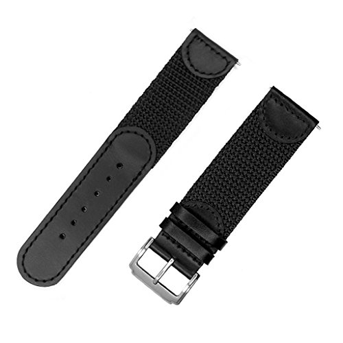YQI Men's Calfskin Leather and Nylon NATO Watch Strap Swiss-Army Style Watch Band (Black with Black, ()
