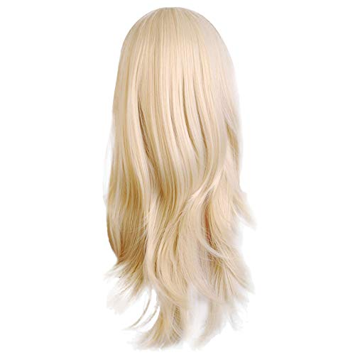 Vine_MINMI ♬♬ Lace Front Wigs, Long Curly Synthetic Color Lace Hair Replacement Wavy Cosplay Party Full Wig for Women (Gold-rosa-grau)
