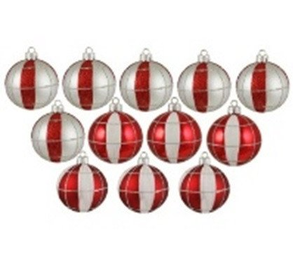 Striped Christmas Ornaments - Northlight  12 Count Peppermint Twist Shatterproof White and Red Striped and Checkered Christmas Ornaments, 2.5